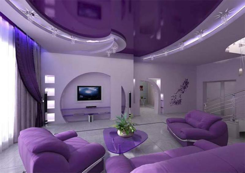 Фиолетовый натяжной потолок фото