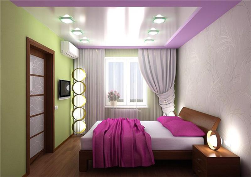 Натяжные потолки в спальне подростка дизайн